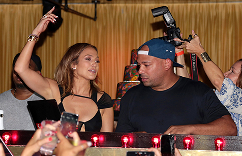 Jennifer Lopez dances next to the DJ at her birthday party at 1OAK in Southampton, N.Y. on July 25.