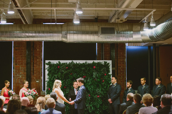 wedding ceremony - photo by Caitlin Thomas Photography http://ruffledblog.com/a-green-pittsburgh-opera-wedding
