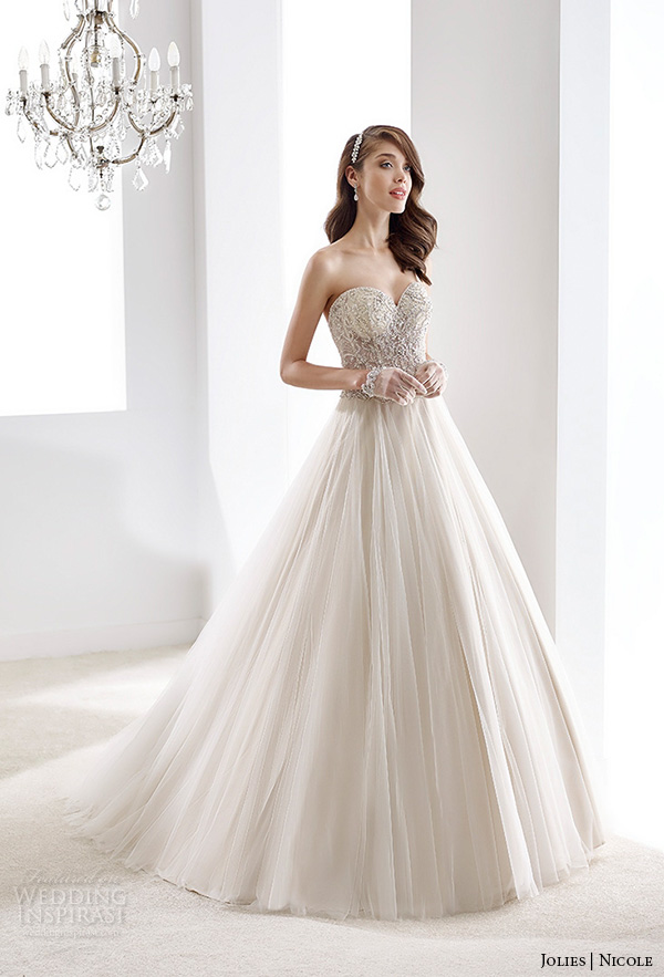 nicole jolies 2016 wedding dresses strapless sweetheart neckline embroidered bodice stunning champagne tulle a line wedding dress joab16413