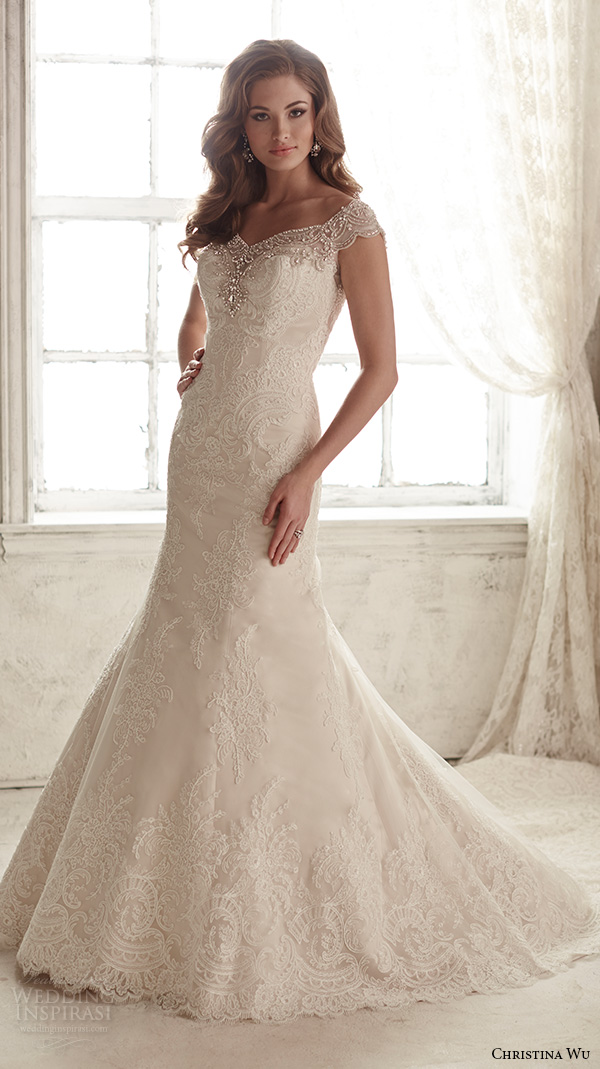 christina wu wedding dresses 2015 beaded cap sleeves v neckline elegant embroidered mermaid wedding dress 15582