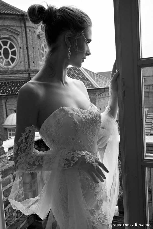 alessandra rinaudo bridal 2016 tianna strapless sweetheart lace wedding dress detached long sleeves close up beaded bodice
