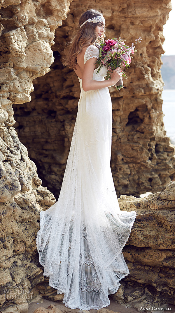 anna campbell 2015 bridal dresse lace strap sweetheart neckline romantic pretty sheath wedding dress lilly back view