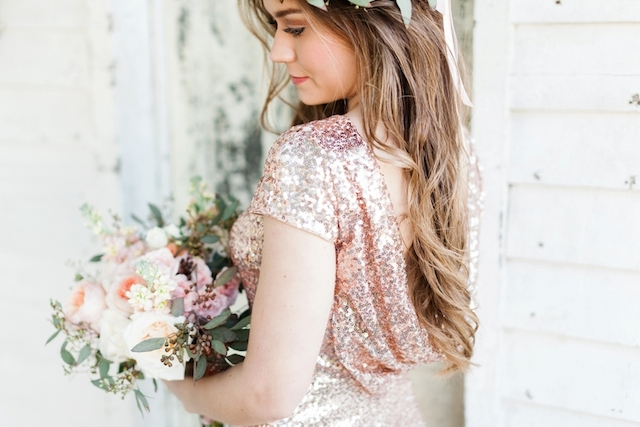 Sequin dress in blush pink | Jessica Sparks Photography | see more on: http://burnettsboards.com/2015/07/southern-fairytale-engagement-session/
