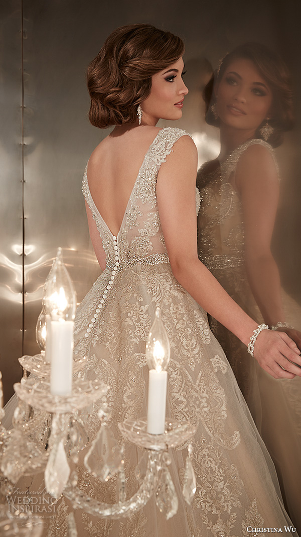 christina wu wedding dresses 2015 beaded straps jewel neckline beautiful a line wedding dress 15576 back zoom