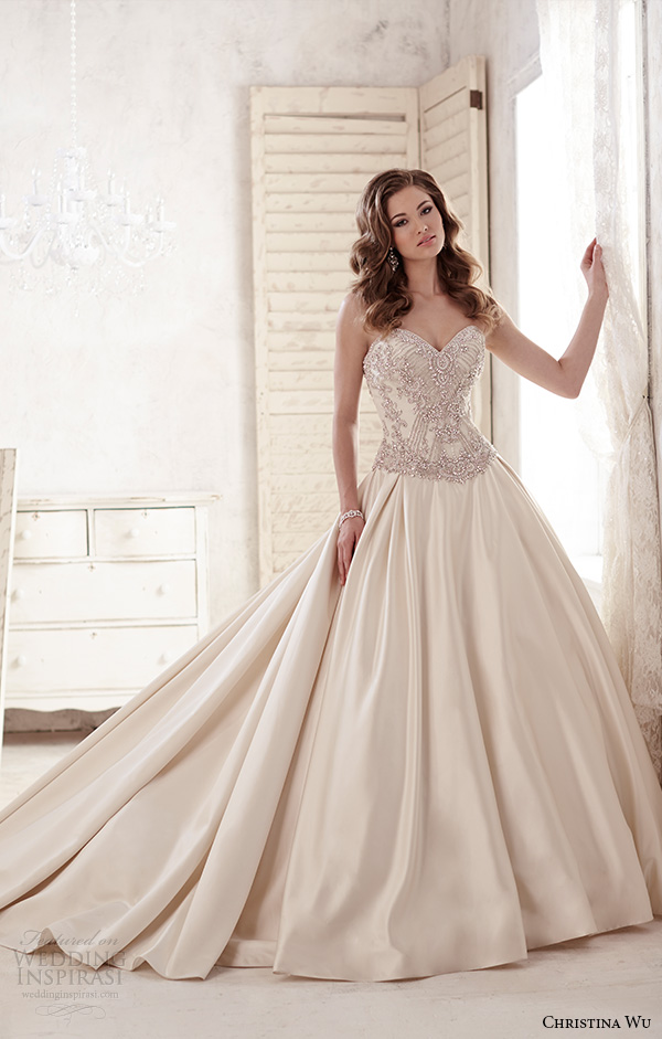 christina wu wedding dresses 2015 strapless sweetheart neckline beaded bodice satin champagne wedding ball gown dress 15581