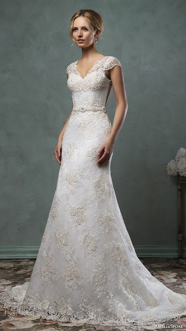amelia sposa 2016 wedding dresses v neckline lace cap sleeves lace embroidery beautiful a line wedding dress donata