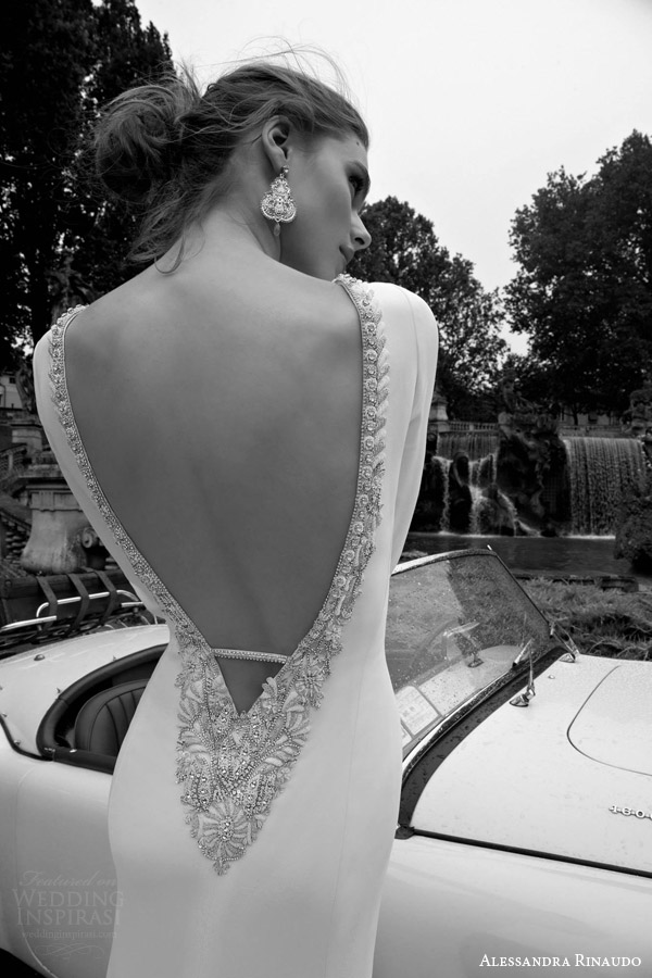 alessandra rinaudo bridal 2016 tecla long sleeve wedding dress beaded plunging v back view close up detail