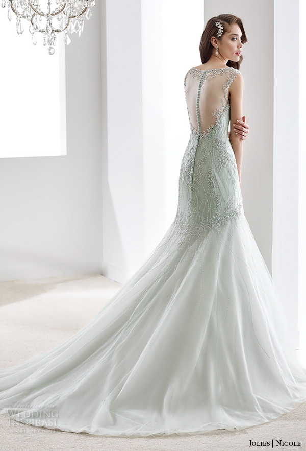 nicole jolies 2016 wedding dresses sleeveless illusion beaded bateau neckline beautiful trumpet mermaid wedding dress joab16425 back view