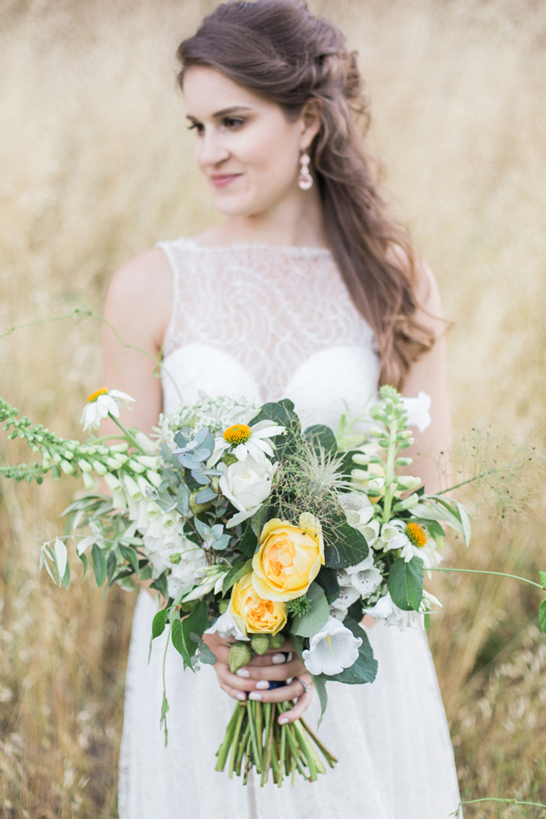 yellow and green bouquet - photo by Olivia Richards Photography http://ruffledblog.com/natural-woodsy-and-copper-wedding-inspiration