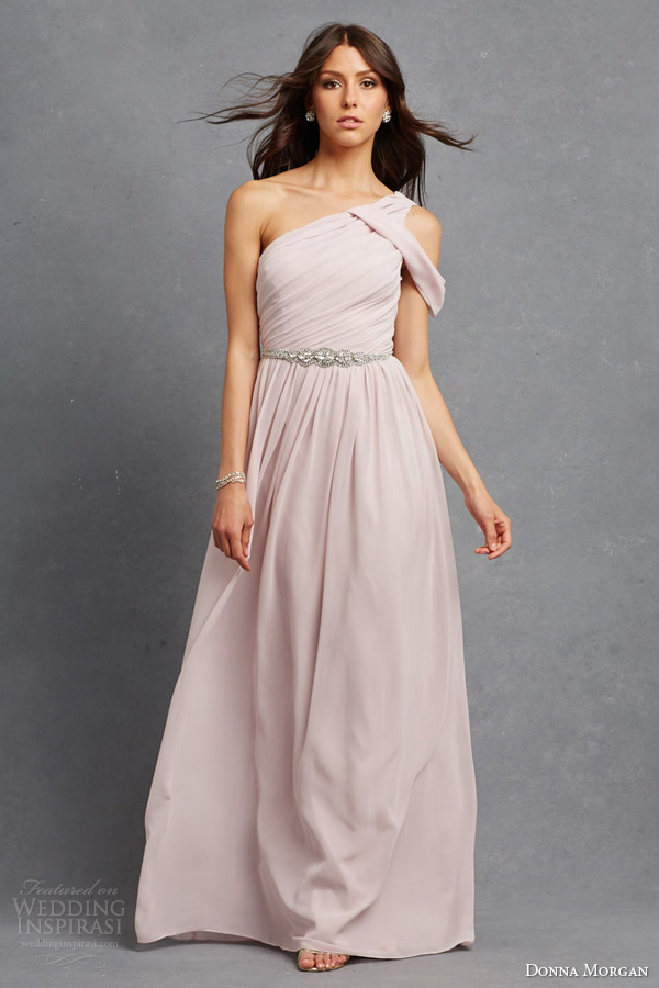 donna morgan pretty bridesmaid dress palest pink chloe one shoulder gown