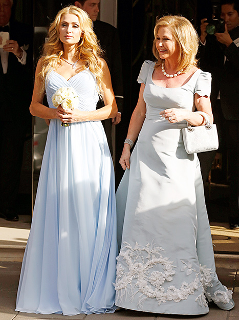 Paris and Kathy Hilton seen leaving Claridge's Hotel for Nicky Hilton's Wedding on July 10, 2015 in London, England.