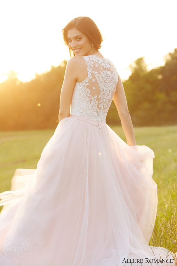 allure bridals romance fall 2015 style 2716 wedding dress sleeveless ivory pink illusion back