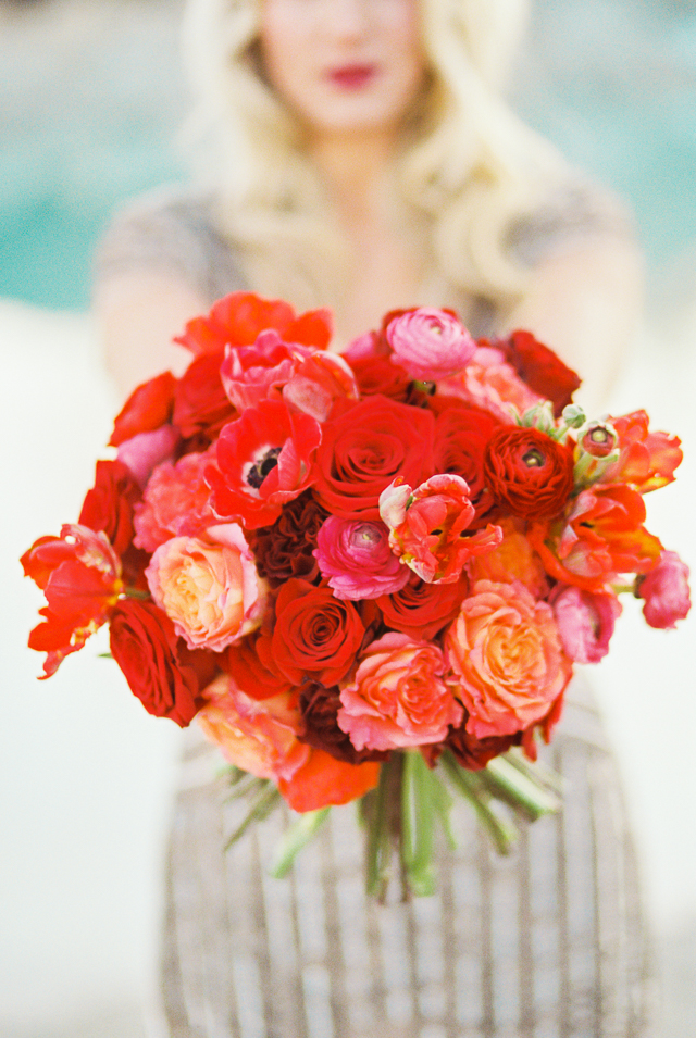 Bright red and orange bridal bouquet | Callie Manion Photography | see more on: http://burnettsboards.com/2015/07/retro-glam-bridals/