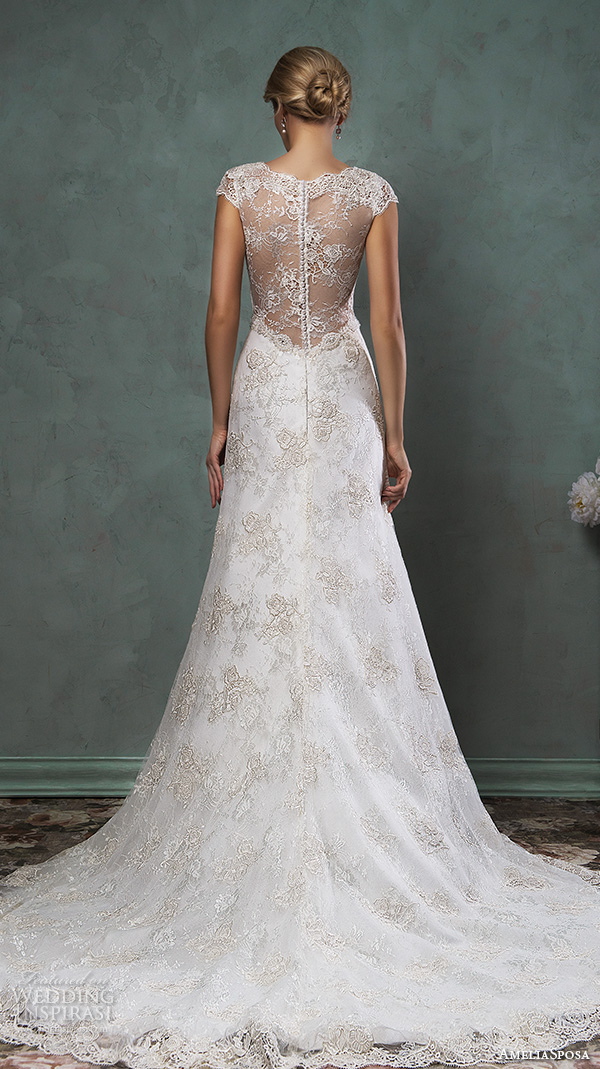 amelia sposa 2016 wedding dresses v neckline lace cap sleeves lace embroidery gorgeous a line wedding dress donata back view