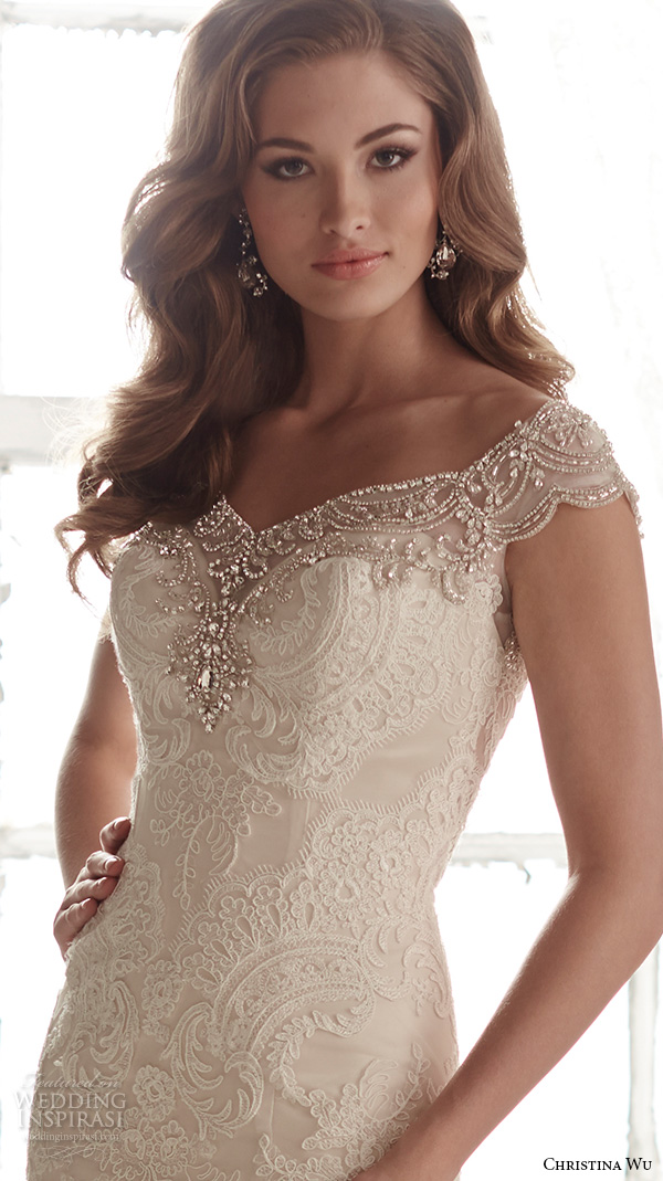 christina wu wedding dresses 2015 beaded cap sleeves v neckline elegant embroidered mermaid wedding dress 15582.close up