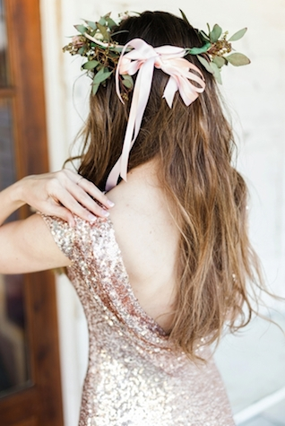 Flower crown and sequin dress | Jessica Sparks Photography | see more on: http://burnettsboards.com/2015/07/southern-fairytale-engagement-session/