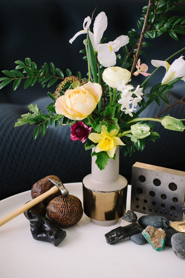 Modern floral centerpiece ⎪James Christianson Photography ⎪ see more on: http://burnettsboards.com/2015/07/sexy-edgy-proposal-engagement/