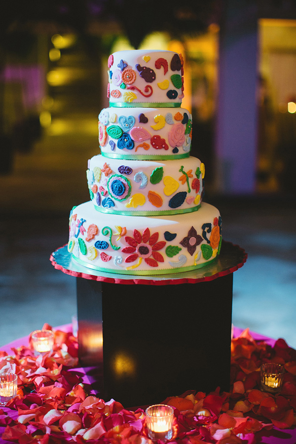 colorful wedding cake - photo by Geoff Duncan http://ruffledblog.com/punta-mita-destination-wedding-and-rehearsal-dinner