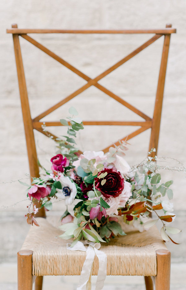 burgundy bouquet with eucalyptus - photo by Nadia Meli http://ruffledblog.com/a-romantic-tuscany-elopement-workshop