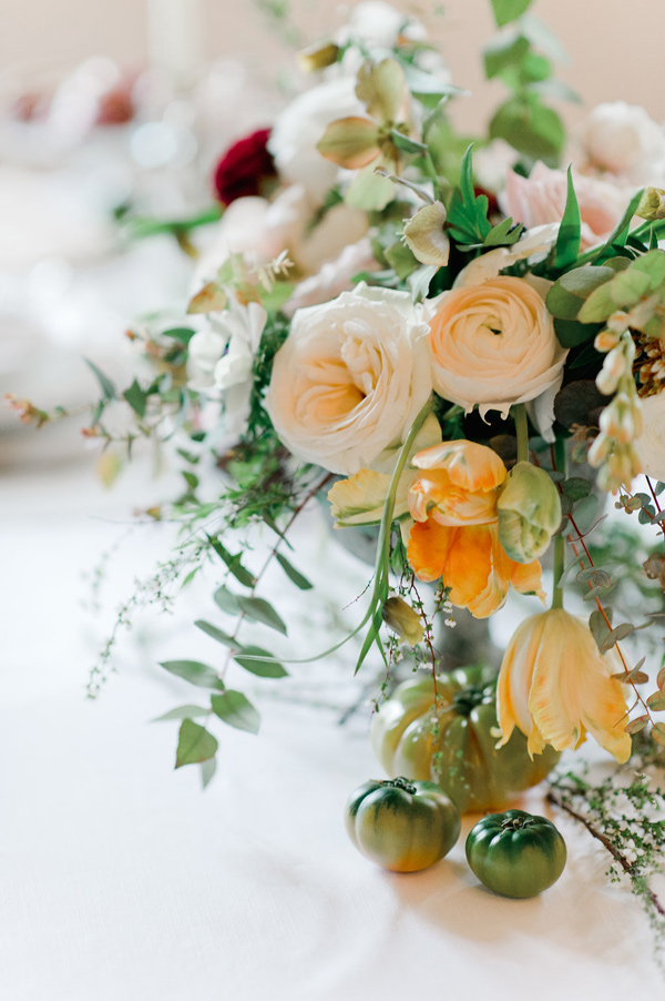 peach floral arrangement - photo by Nadia Meli http://ruffledblog.com/a-romantic-tuscany-elopement-workshop