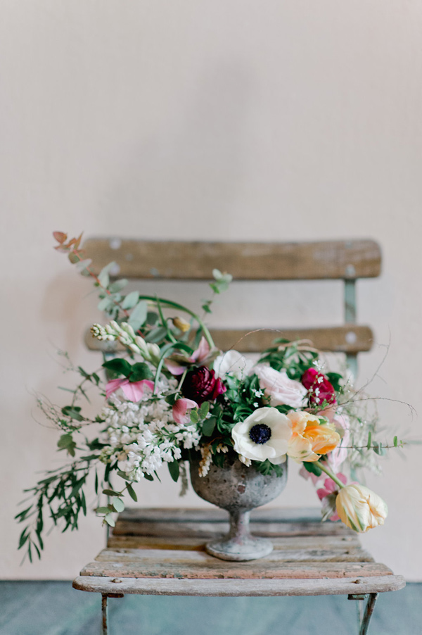 floral arrangement with anemone - photo by Nadia Meli http://ruffledblog.com/a-romantic-tuscany-elopement-workshop
