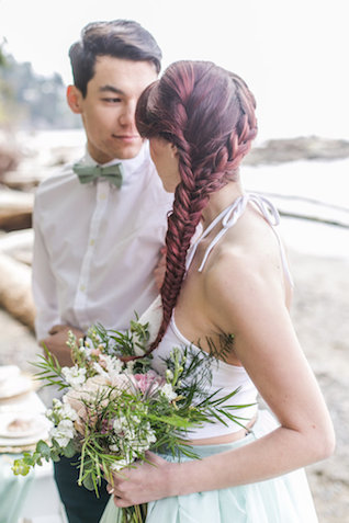 Fishtail braid hairstyle | John Bello | see more on: http://burnettsboards.com/2015/07/disneys-mermaid-wedding/