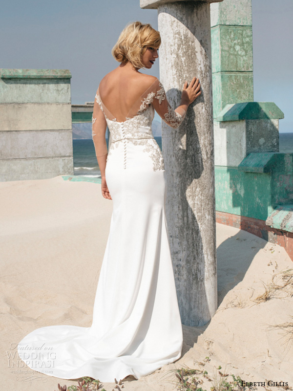 elbeth gillis 2016 bridal off the shoulder embroidery lace strap sweetheart neckline embroideried bodice emily sheath wedding dress back view