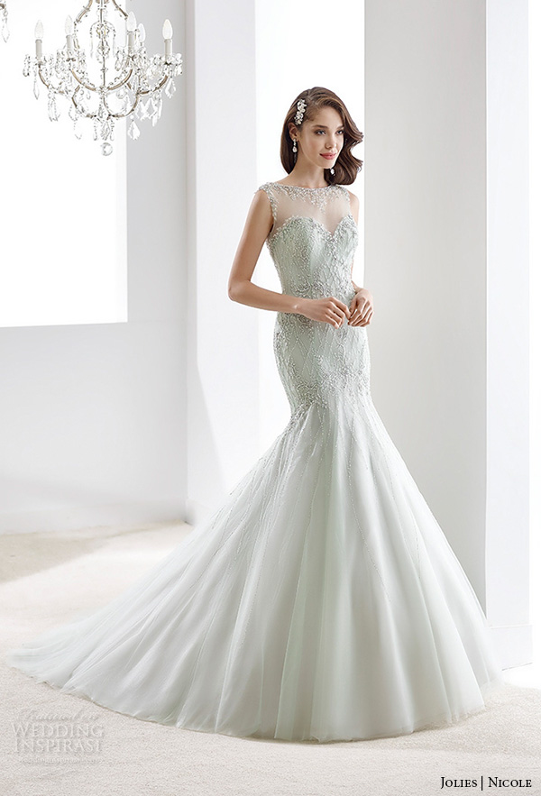 nicole jolies 2016 wedding dresses sleeveless illusion beaded bateau neckline beautiful trumpet mermaid wedding dress joab16425