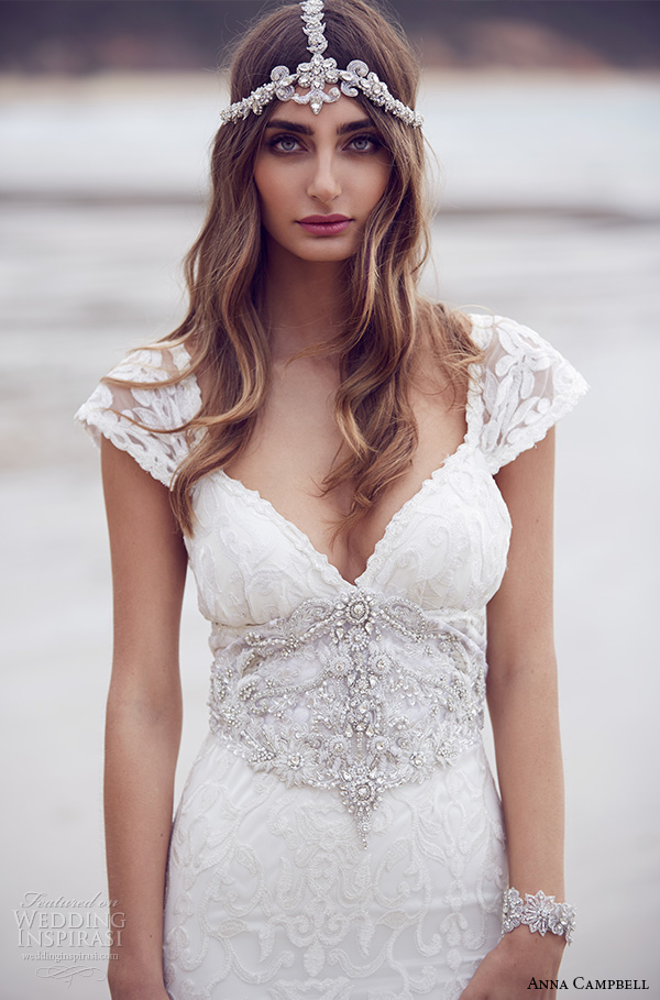 anna campbell 2015 bridal dresse lace strap v neckline embellished bodice beautiful trumpet mermaid wedding dress ebony close up