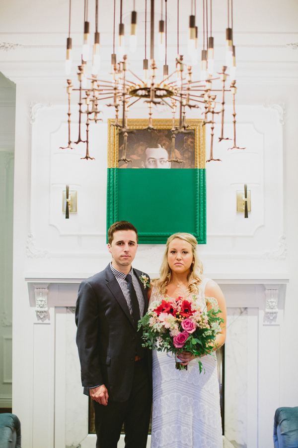 bride and groom - photo by Caitlin Thomas Photography http://ruffledblog.com/a-green-pittsburgh-opera-wedding