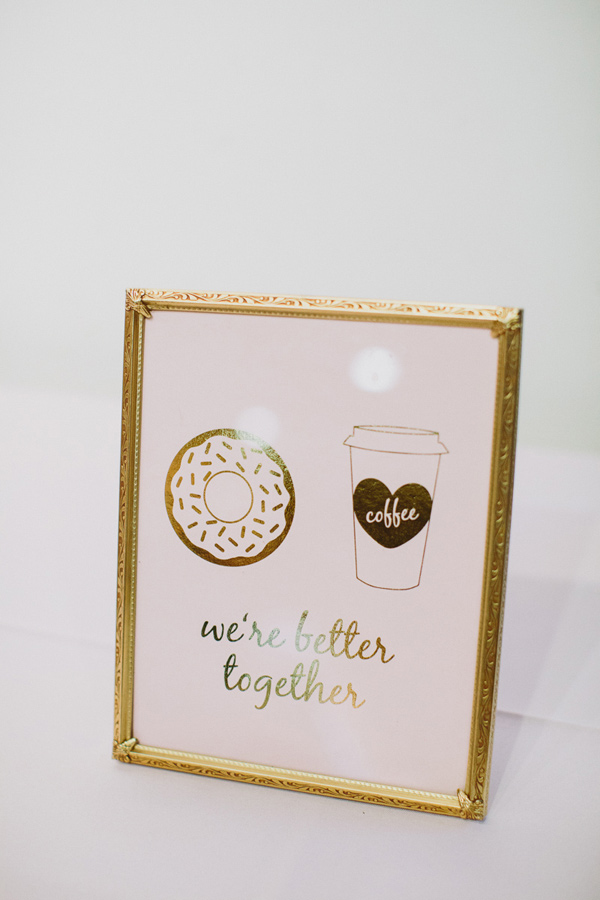 donuts and coffee sign - photo by Caitlin Thomas Photography http://ruffledblog.com/a-green-pittsburgh-opera-wedding
