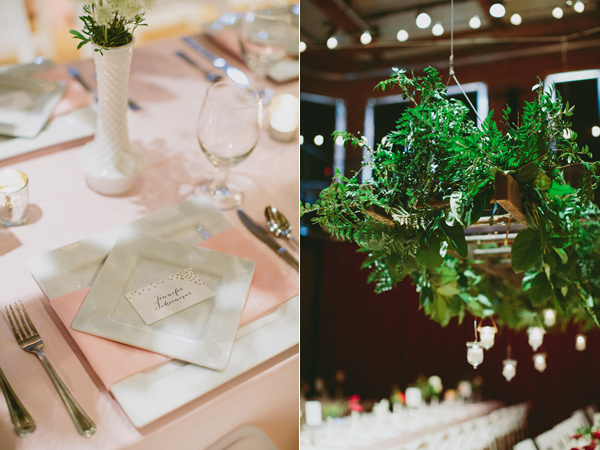 place setting - photo by Caitlin Thomas Photography http://ruffledblog.com/a-green-pittsburgh-opera-wedding