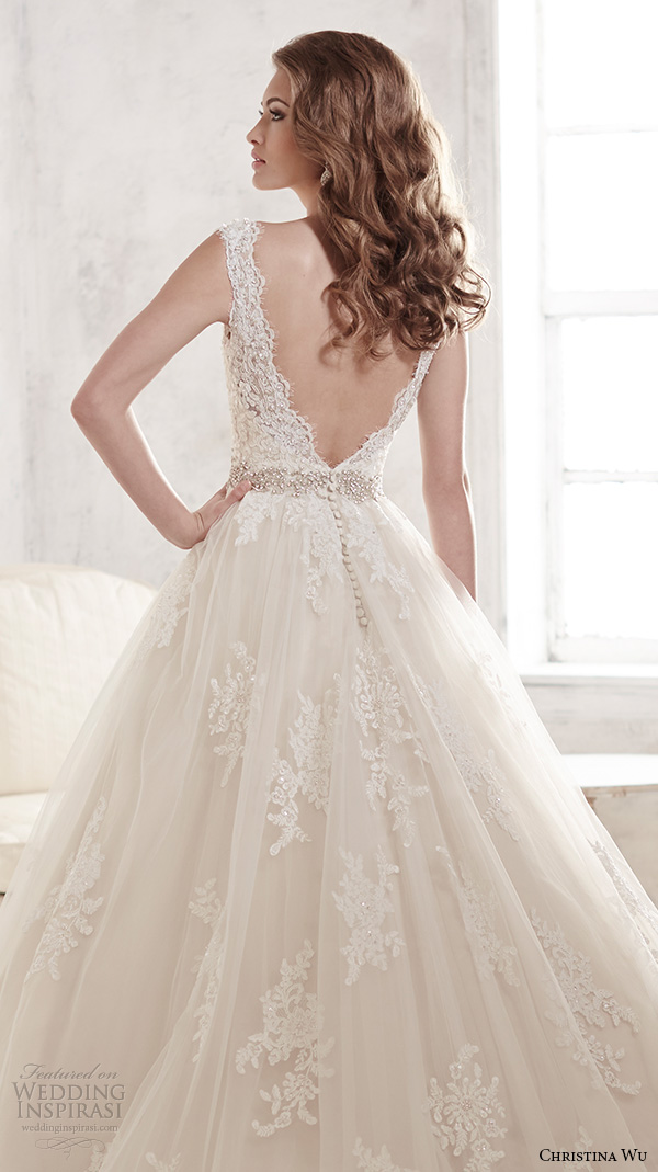 christina wu wedding dresses 2015 thick lace strap v neckline stunning a line wedding dress 15580 back view zoom