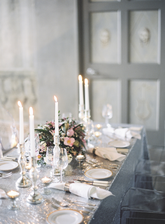 Silver and gold tablescape | Sarah Hannam | see more on: http://burnettsboards.com/2015/07/classic-wedding-silver-gold/