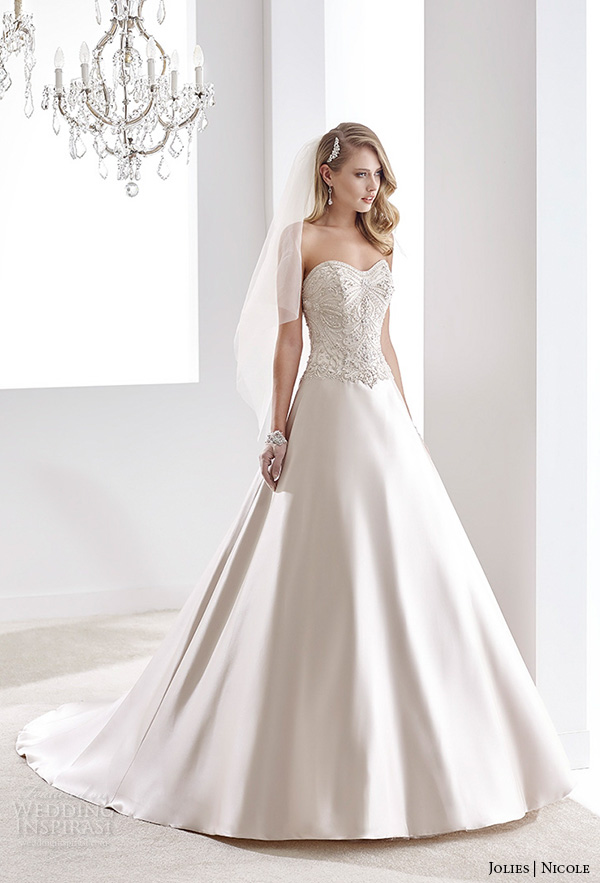nicole jolies 2016 wedding dresses strapless sweetheart neckline beaded bodice ivory satin a line wedding dress joab16408