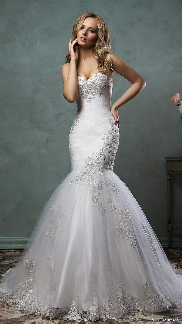 amelia sposa 2016 wedding dresses strapless sweetheart neckline embroidered bodice beautiful mermaid dress mirella