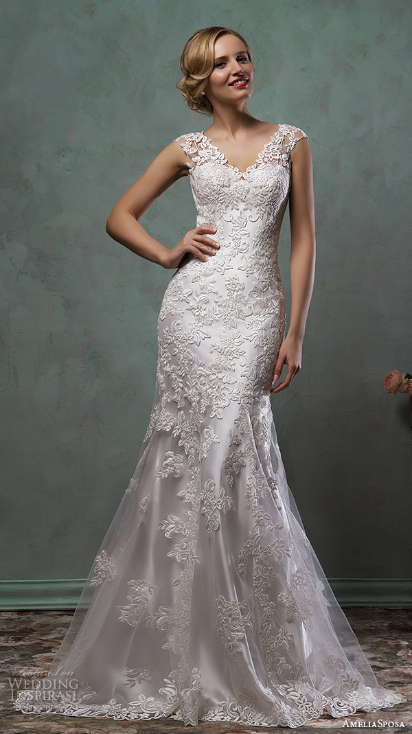 amelia sposa 2016 wedding dresses cap sleeves v neck lace embroidery stunning fit flare trumpet mermaid dress alba