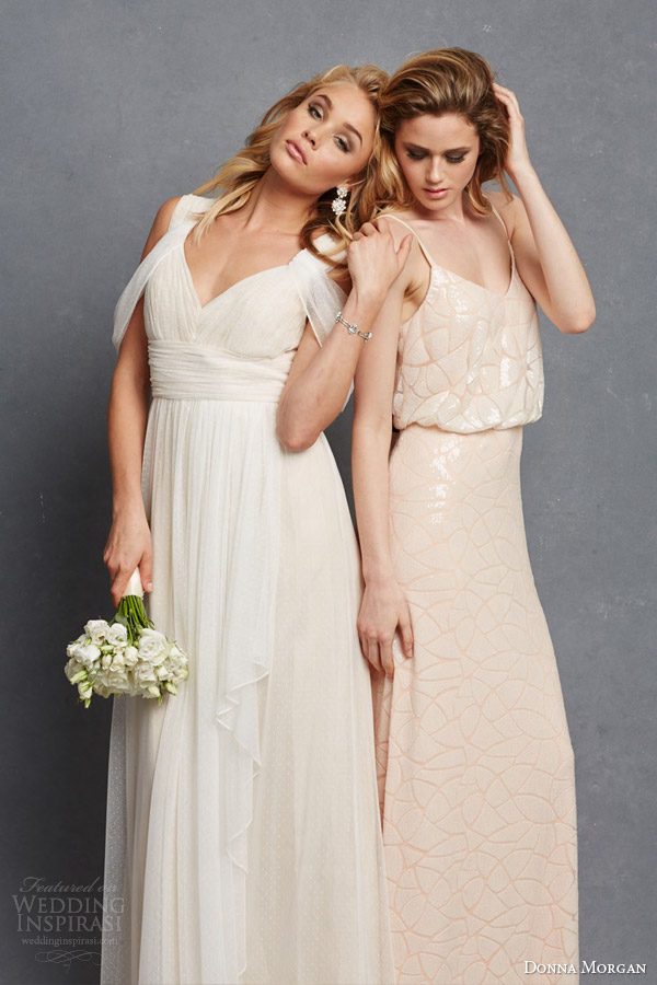 donna morgan bridal bridesmaid dresss colette gown shoulder drape olivia blouson sleeveless gown