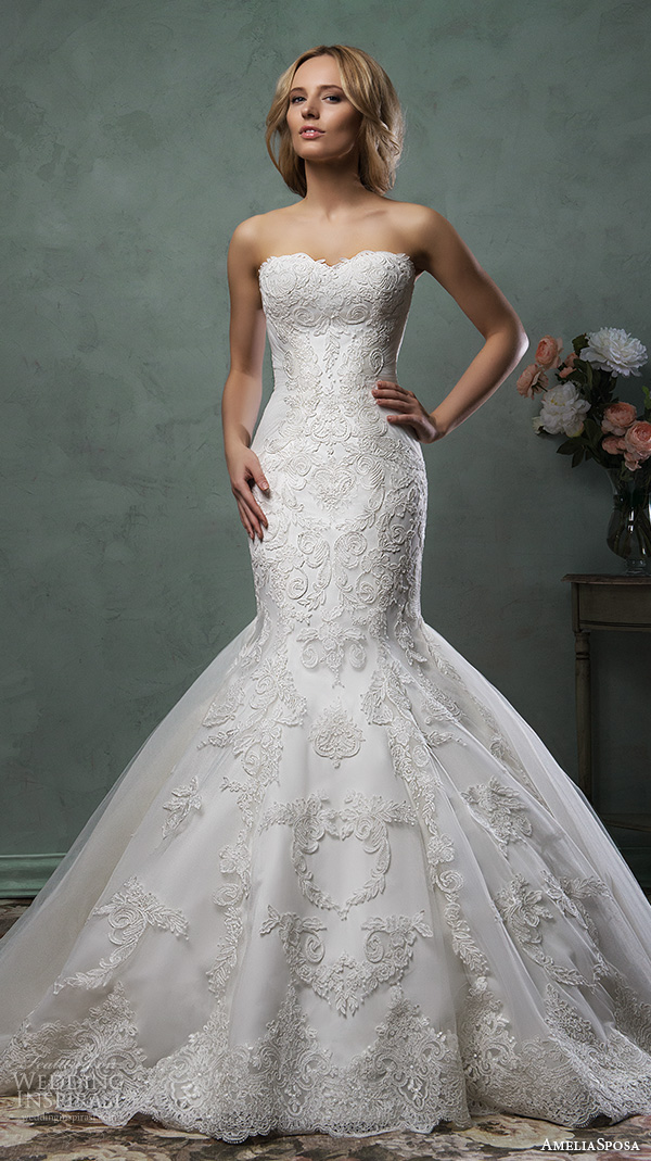amelia sposa 2016 wedding dresses strapless scallop sweetheart neckline lace embroidery stunning trumpet mermaid dress emilia