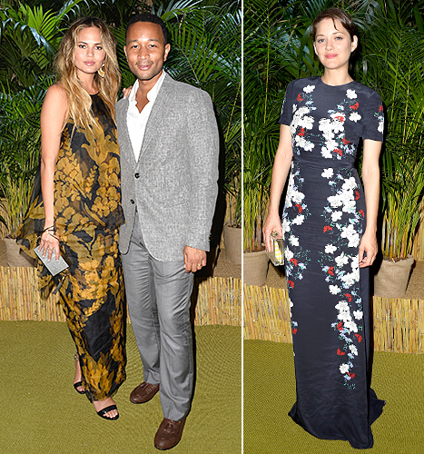 Chrissy Teigen, John Legend, and Marion Cotillard attend a Dinner and Auction during The Leonardo DiCaprio Foundation 2nd Annual Saint-Tropez Gala at Domaine Bertaud Belieu on July 22, 2015 in Saint-Tropez, France.