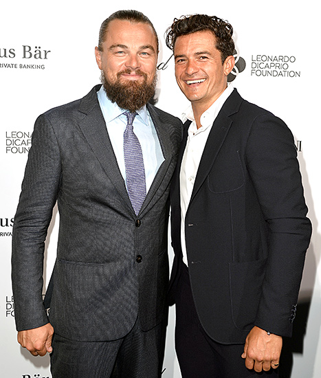 Leonardo DiCaprio and Orlando Bloom attend a cocktail reception during The Leonardo DiCaprio Foundation 2nd Annual Saint-Tropez Gala at Domaine Bertaud Belieu on July 22, 2015 in Saint-Tropez, France.