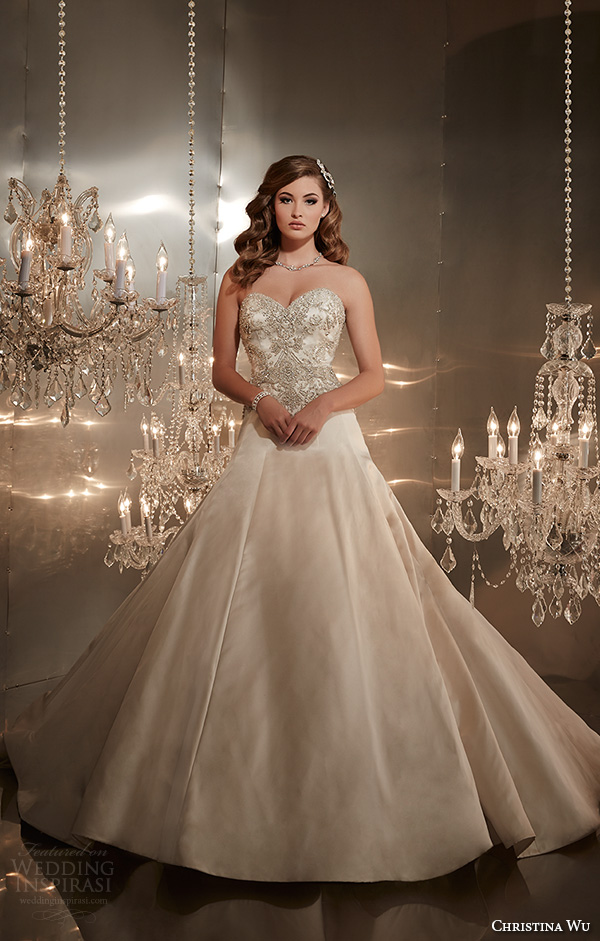 christina wu wedding dresses 2015 strapless sweetheart neckline beaded bodice elegant a line wedding dress 15567