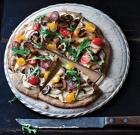 Hummus Pizza with Arugula