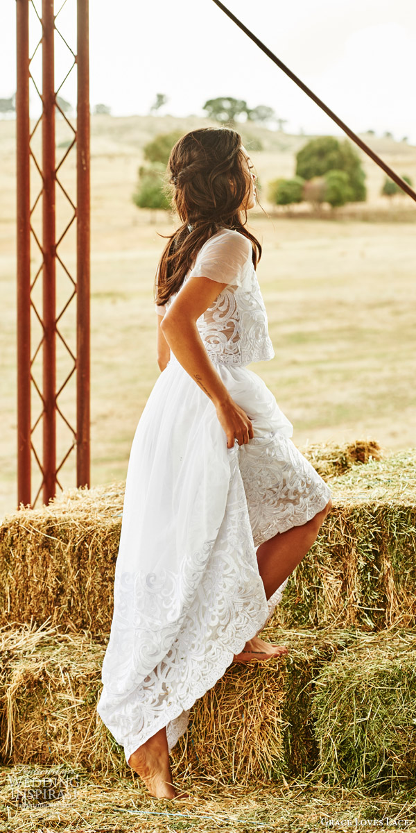 grace loves lace bridal 2015 hendrix two piece wedding dress crop top sheer short sleeves neckline elastic skirt embroidery back view