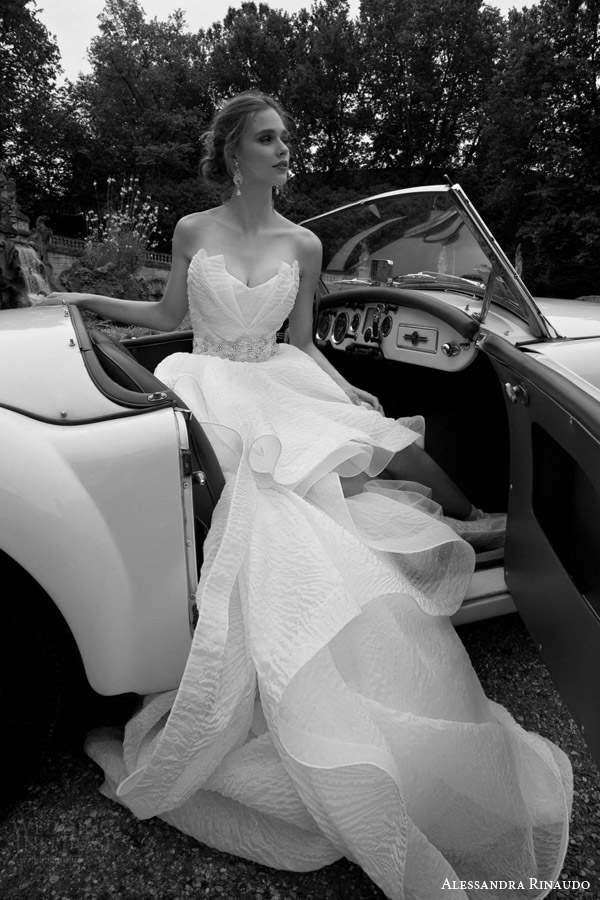 alessandra rinaudo bridal 2016 thais strapless crumb catcher neckline high to low wedding dress