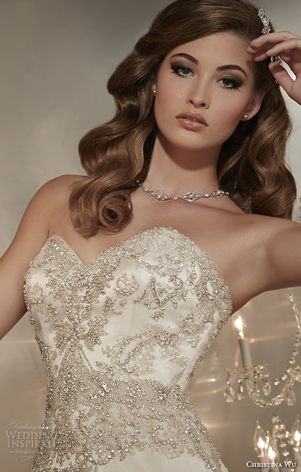 christina wu wedding dresses 2015 strapless sweetheart neckline beaded bodice elegant a line wedding dress 15567 close up