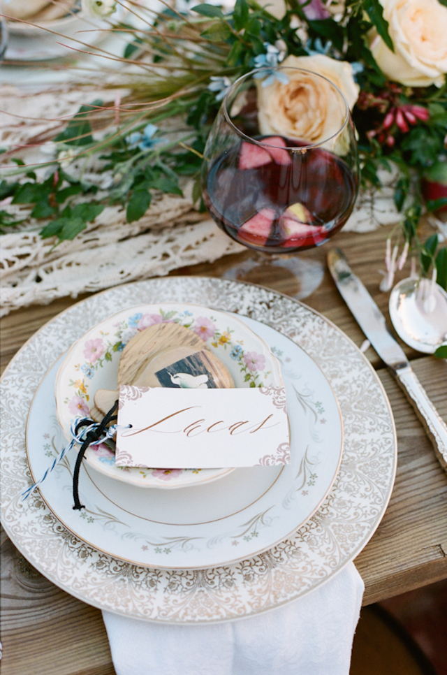 Vintage china place setting | White Rabbit Studios | see more on: http://burnettsboards.com/2015/07/spanish-styled-shoot/