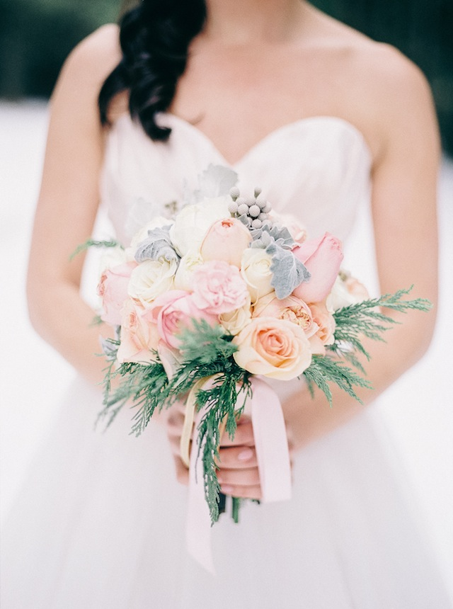 Pastel bridal bouquet ⎪ Nikki Santerre Photography⎪see more on: http://burnettsboards.com/2015/07/pastel-pine/