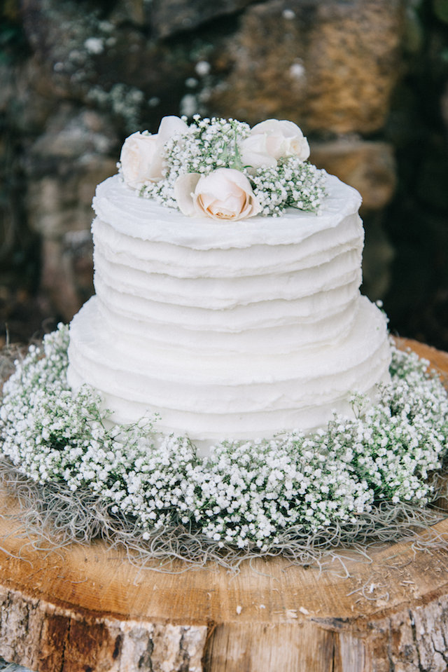 Baby's breath and rose wedding cake | Nicole Colwell Photography | see more on: http://burnettsboards.com/2015/07/ivy-bridal-session-planned-2-days/