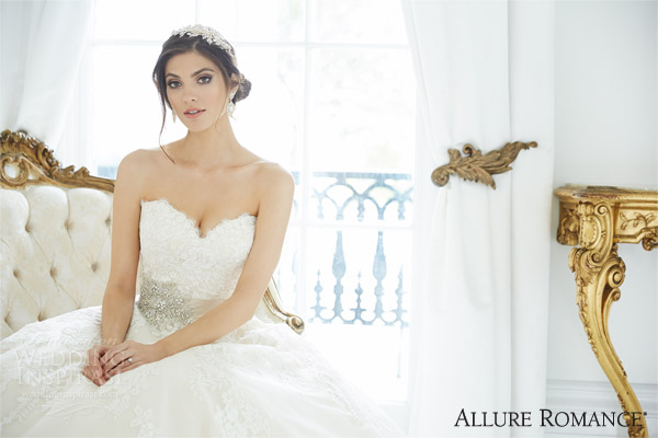 allure romance fall 2015 style 2809 strapless wedding dress sweetheart bodice close up
